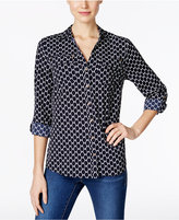 Charter Club Petite Printed Roll-Tab Shirt, Only at Macy's