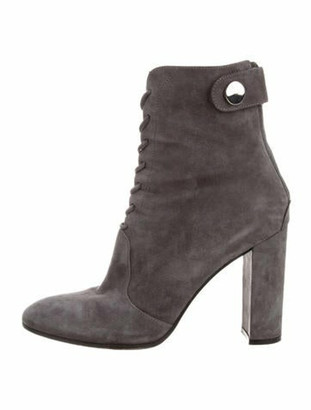 Gianvito Rossi Suede Lace-Up Boots Grey