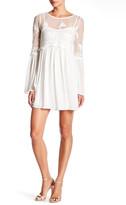 Trixxi Embroidered Mesh Long Sleeve Dress