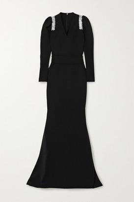 Safiyaa Tonya Belted Crystal-embellished Crepe Gown - Black