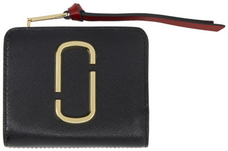 Marc Jacobs Black and Burgundy Mini Snapshot Compact Wallet