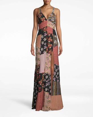 Nicole Miller Provence Floral Embellished Patchwork Gown