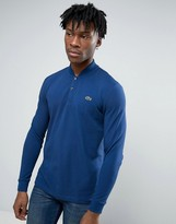 Lacoste Live Polo Shirt With Bomber Collar With Long Sleeves In Green Regular Fit