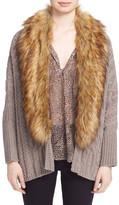 Joie Raeka Wool Blend Faux Fur Cocoon Cardigan