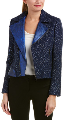 Elie Tahari Leather-Trim Wool-Blend Jacket