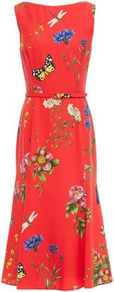 Oscar de la Renta Belted Printed Crepe Midi Dress