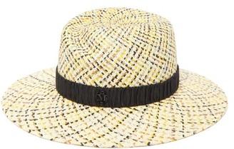 Maison Michel Virginie Checked Straw Fedora Hat - Black Beige