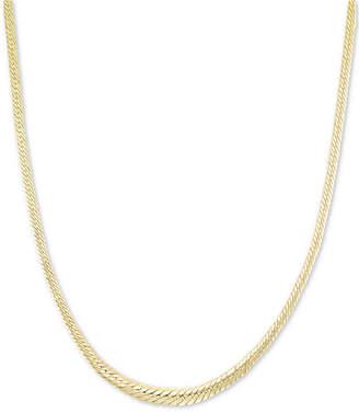 "Italian Gold Graduated Herringbone 18"" Chain Necklace in 14k Gold"