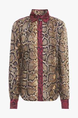 Victoria Beckham Snake-print Silk-twill Shirt
