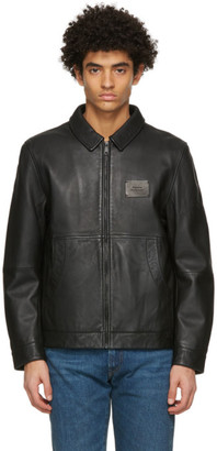 Saturdays NYC Black Leather Harrington Jacket