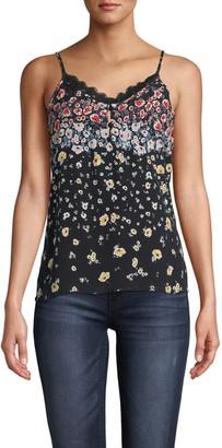 Nicole Miller Ashbury Floral Silk Cami W/ Lace