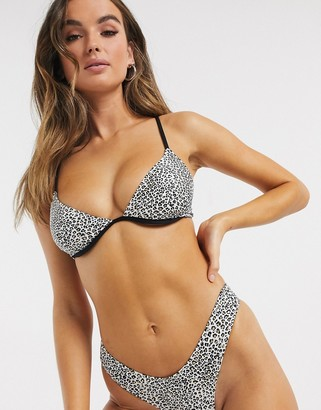 Pistol Panties High Apex Leopard Printed Bikini Set With Skimpy Cut Bottoms
