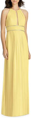 Jenny Packham Lux Chiffon Halter Bridesmaid Gown with Beaded Trim