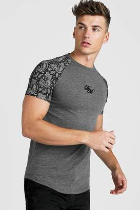 boohoo BM Muscle Fit Embroidered Paisley Print T-Shirt