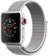 Apple Watch Series 3, GPS and Cellular, 38mm Silver Aluminium Case with Sport Loop, Seashell