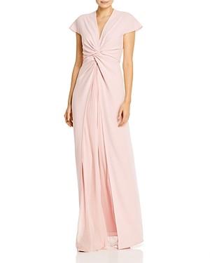 Paule Ka Pleated Mousseline-Inset Twist Detail Gown