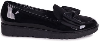 Linzi VIVIAN - Black Suede & Patent Chunky Slip On Shoe with Fabric Bow