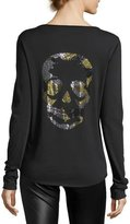 Zadig & Voltaire Tunisien Long-Sleeve Beaded Skull Cotton Tee