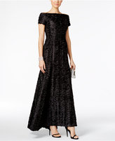 B Michael Rippled Off-The-Shoulder Gown