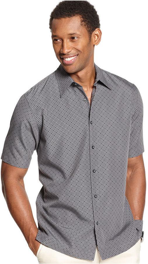 Sheridan Via Europa Big and Tall Shirt, Short Sleeve Print Shirt