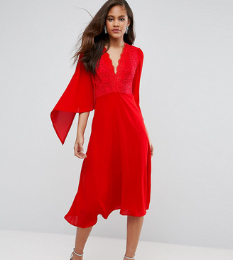 John Zack Tall Lace Panel Midi Skater Dress With Cape Detail