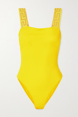 Versace Jacquard-trimmed Swimsuit - Bright yellow