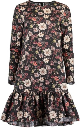Adam Lippes Black Long Sleeve Floral Print Ruffle Hem Dress