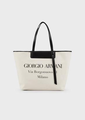Giorgio Armani Canvas Shopper With Logo