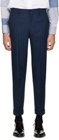 Comme des Garcons Navy Wool Striped Trousers