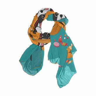 Use7 French Bulldog Dog Pumpkin Chiffon Silk Long Scarf Shawl Wrap