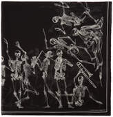 Alexander McQueen Black Dancing Skeleton Scarf