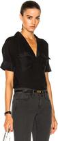Frame Mixed Shawl Collar Shirt