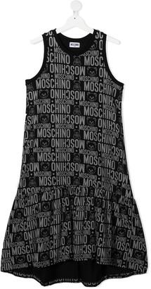 MOSCHINO BAMBINO TEEN logo-print sleeveless short dress