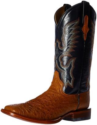 Ferrini Men's Smooth Ostrich Square Toe Cognac Western Boot 11.5 D US