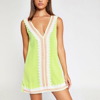 River Island Neon green lace front beach dress
