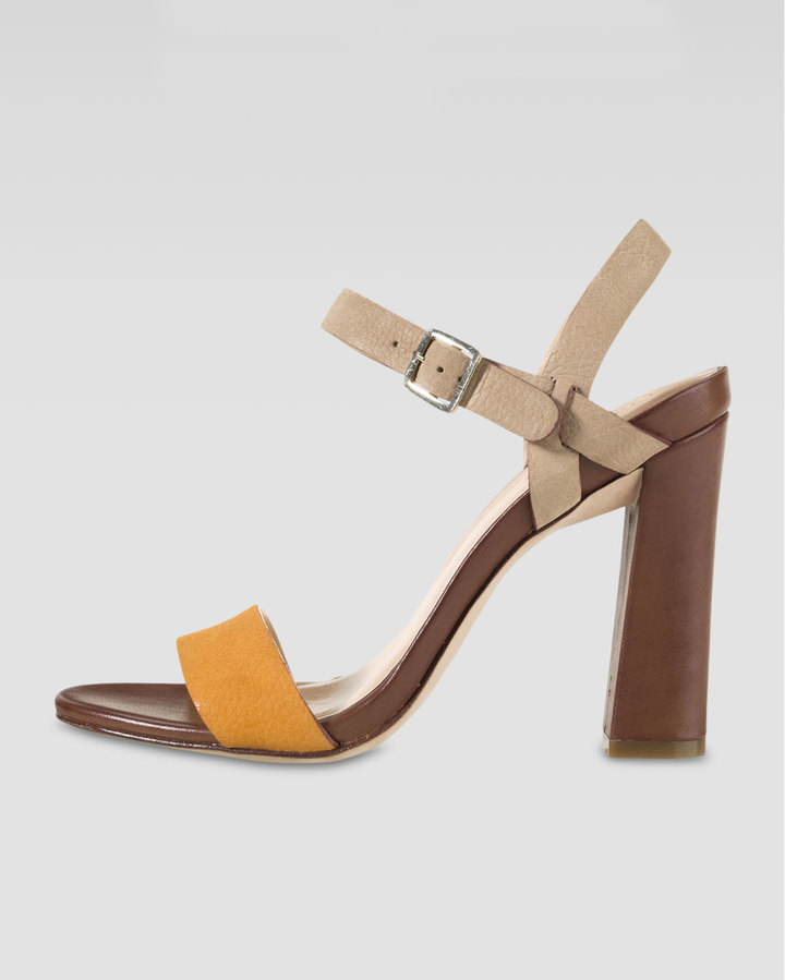 Cole Haan Minetta Chunky-Heel Sandal, Citrine/Sandstone