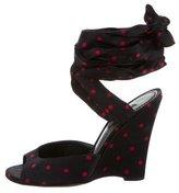 Dolce & Gabbana Satin Polka Dot Wedges