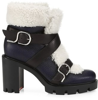 Christian Louboutin Pole Chic Lug-Sole Shearling-Trimmed Leather Combat Boots