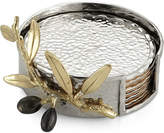 Michael Aram Set of 6 Olive Branch Gold Coasters with Caddy