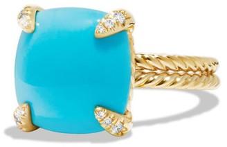 David Yurman Chatelaine Ring with Turquoise & Diamonds in 18K Yellow Gold