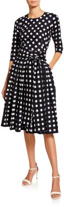Samantha Sung Florence Bomber Check Crewneck 3/4-Sleeve Mod Dress