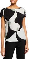 Emporio Armani Abstract-Printed Silk Cap-Sleeve Blouse