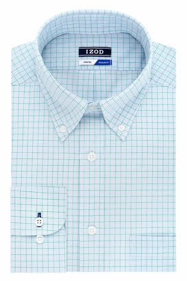 Izod Men's Dress Shirt Regular Fit Stretch Button Down Collar Check
