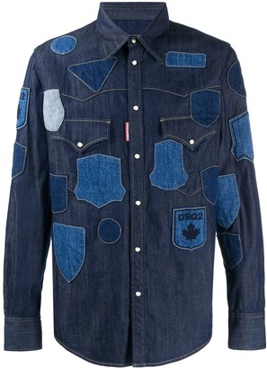 DSQUARED2 Patch-Work Denim Shirt