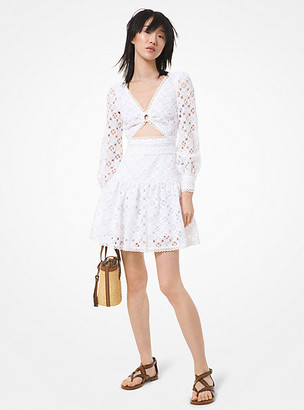 MICHAEL Michael Kors MK Medallion Lace Cutout Dress - White - Michael Kors