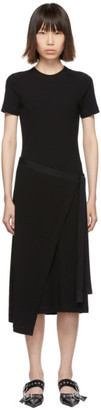 Rosetta Getty Black Short Sleeve Apron Wrap Dress