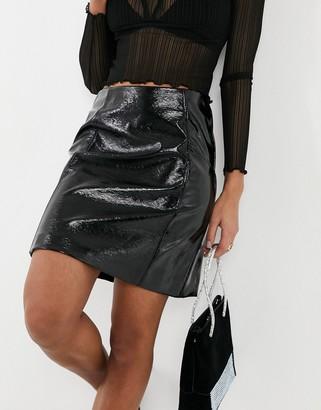 New Look vinyl mini skirt in black