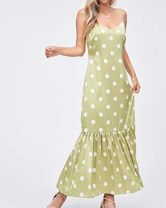 Express Emory Park Polka Dot V-Neck Sleeveless Maxi Dress