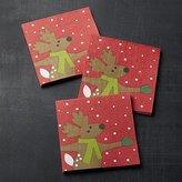 Crate & Barrel Skating Reindeer Paper Beverage Napkins Set of 20