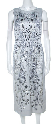 Matthew Williamson Grey Floral Print Cotton Blend Sleeveless Dress M
